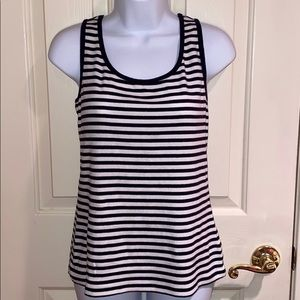 Talbots striped stretch weekend tank MP blue white